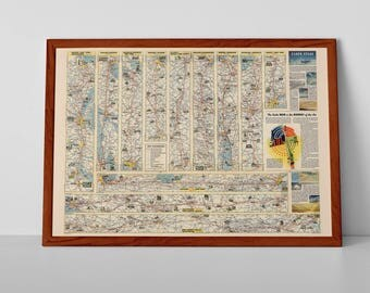 American Airlines Routes | Retro AA Airliner American Flight Plans Flight Route, Airplane Poster, American Aircraft Drawing | 1955