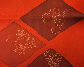 "13.4""w. x 37""l. Vintage kimono silk fabric red flower 2455H"