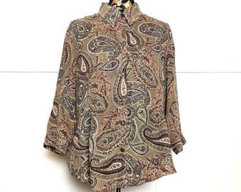 VTG 80s Tan Paisley Sheer Blouse