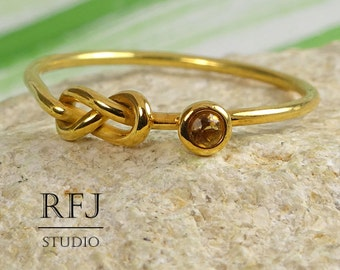 Natural Citrine Infinity Knot Yellow Gold  Ring, November Birthstone Double Knot 24K Gold Plated Ring, 2 mm Round Citrine Eternity Ring