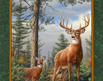 "Deer Fabric, Deer Panel: DEER MOUNTAIN Evergreen - Deers in the woods by Quilting Treasures 100% cotton Fabric By The Panel 24""x44"" (N541)"