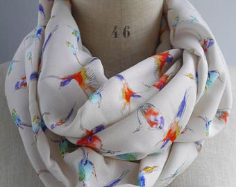 bird infinity scarf, bird loop scarf, beige infinity scarf, bird print, soft bird scarf, bird drawing, mothers day gift, cowl with birds