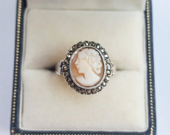 Vintage cameo and marcasite ring - size 7.5, antique, silver, retro, classic, victorian