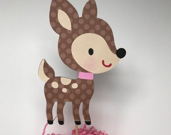 Fawn cake topper, woodland animals cake topper, fawn baby shower, fawn birthday, Zoo cupcake toppers, fawn cupcake toppers.