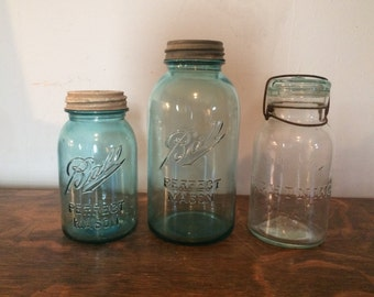 Antique Canning Jars - Blue Glass - Set of Three