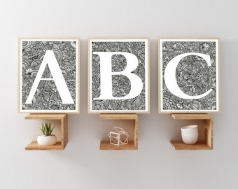 Alphabet Letters - Wall Letter - Name Art - Alphabet art - Alphabet Clip Art - Wooden Letters - Nursery Decor - ABC Print - ABC Wall Art