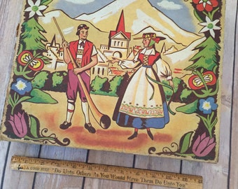 Vintage Wooden Box With Depiction of Switzerland
