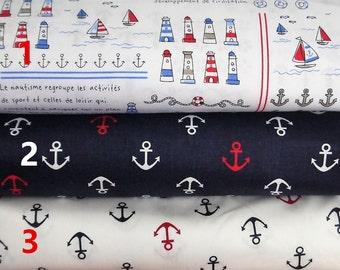Beautiful nautical design fabric per fat quarter/per half meter/per meter/per fat quarter bundle