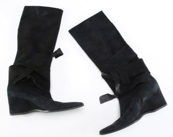 Vintage Black Suede Wedge Boots | Size 5.5US