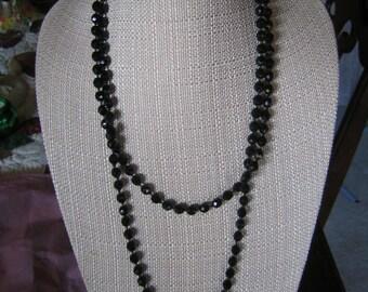 Vintage Austria Faceted Jet Black Beaded Necklace