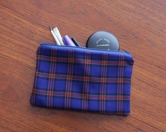 Blue check pouch