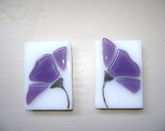 Purple Flower Fused Stained Glass Magnet