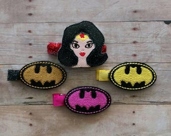 Super Hero Vinyl Feltie Hair Clip