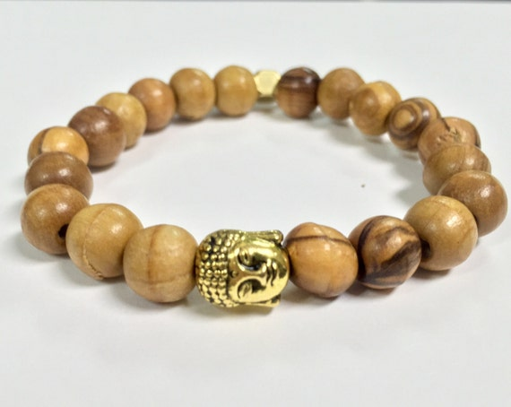 Olive Wood Prayer Bead Buddha Bracelet (unisex)