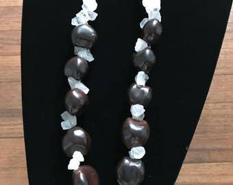 Quartz, Citrine & Hawaiian KuKui Nut Necklace
