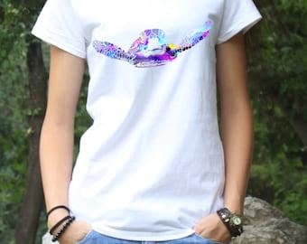 Turtle Tee - Art Tee - Fashion Tee - White shirt - Printed shirt - Women's T-shirt