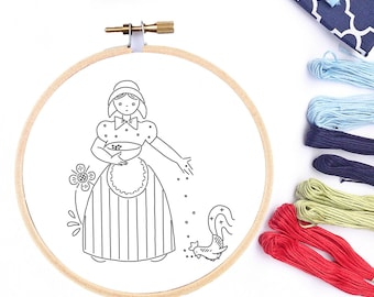 Hand Embroidery Transfer Pattern PDF Farmers Wife Feeding the Chicken Vintage Transfer Design Printable Embroidery Pattern PDF Pattern