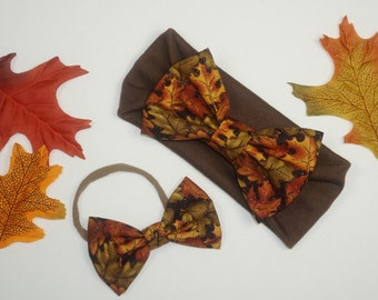 Thanksgiving Fall Leaf Sparkle Bow Headband - Size Newborn Baby Girl