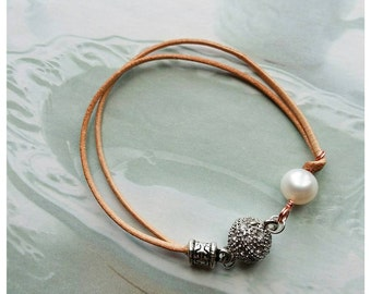Sale~Leather & Freshwater Pearl Bracelet With Magnetic Clasp~Custom Length