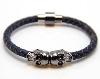Skull Bracelet Gunmetal / Blue Nappa Leather