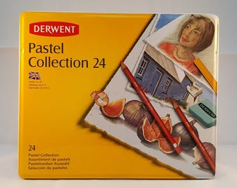 Derwent 24 Pastel Collection set, a colourful selection of Pastel Pencils and Pastels, Pastel Pencils and  Pastels, a gift for an artist