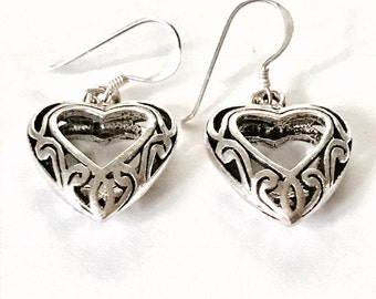 Open Heart in a Heart Sterling Silver Earrings