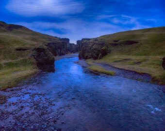 Fjaðrargljufur Canyon, Iceland, Fjord, Christmas Gift, Twilight, Night Sky, Blue, Large Wall Art Print, Fine Art Photography- Twilight