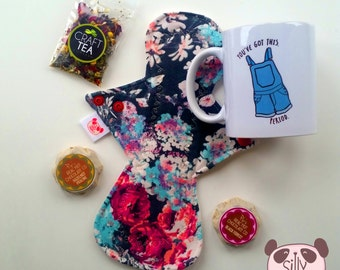 Period Gift, Hug in a Mug, Vegan Gift, Christmas Set, Mug set, Cloth Sanitary Pad Gift, Cloth Pads, Vegan Christmas Gift