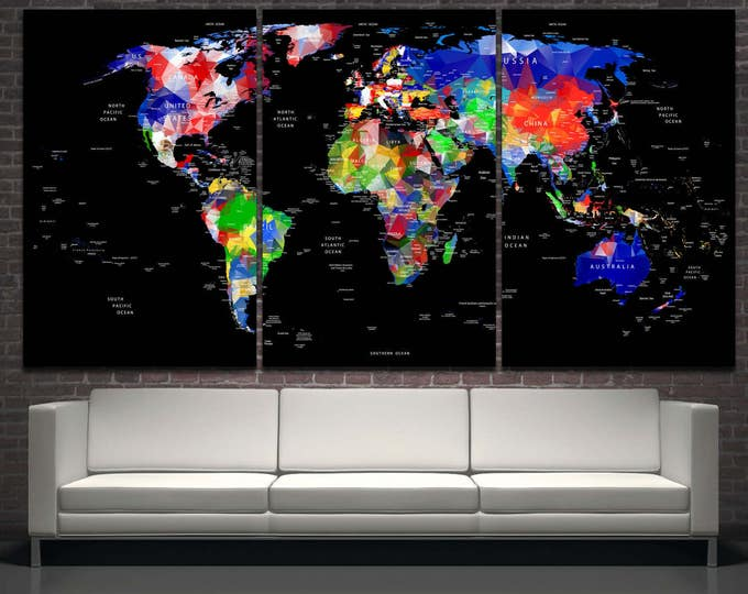 Black background large colorful world map countries and cities digital print home decor, counrty names world map wall art canvas set