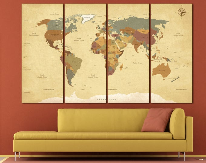 Classic parchment style world map wall art canvas digital antique print, large printable world map vintage wall decor with countries names