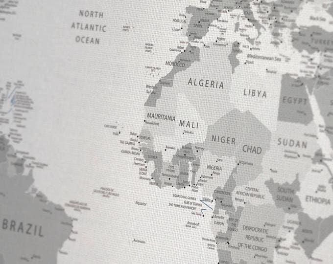 Large Gray World Map Canvas wall art, Push pin gray travel detailed world map Gray world wall map canvas print on 1, 3 or 5 map canvas print