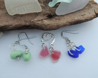 Pink, Cobalt Blue and Green Milk Glass Scottish Sea Glass Dangle Earrings, Authentic Sea Glass