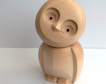 Wooden owl, Hand carved owl, Little cute owl, Home decoration owl, Animal figure, Gift idea