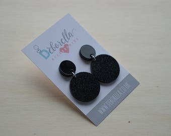 Black Round Glittery Dangly Earrings