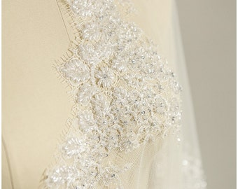 HEAVY BEADED elegant lace Trim with pearls, crystals, sequins, Chantilly Lace, very soft, very heavy (TRHC-40461)