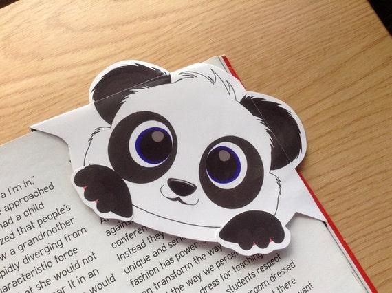 Panda corner bookmark, panda bookmark, panda page marker, panda gift, page marker, animal corner bookmark, book reader gift, panda filofax