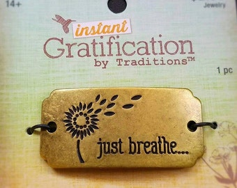 1 piece, Instant gratification, Just Breathe, Charm, Pendants, Arm Band, Jewelry Accessories, 9x55mm