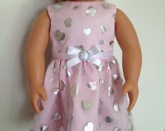 Pretty pink party dress with shimmery hearts for 18in doll