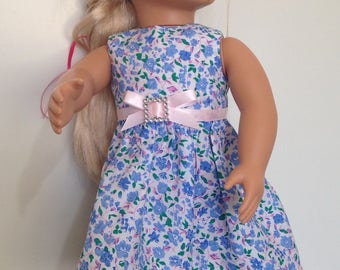 Springtime flowers dress in blue and pink for 18in dolls like American Girl and Our Generation