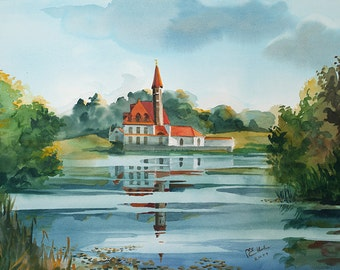 Watercolor. Priory Palace, Gatchina, Russia.