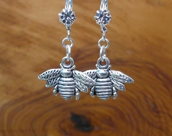 Silver Honey Bee earrings made with Rhinestone French hooks / lever back ear wires. Gift bagged.