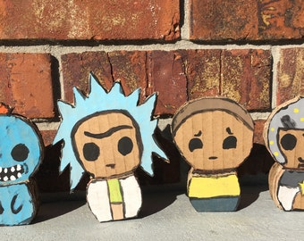 Rick and Morty Mini Chibi Desk Ornaments / cardboard cutout / standee (set)