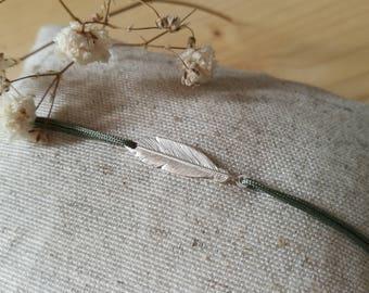 Feather silver bracelet