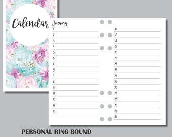 PERSONAL RINGS Sized: Perpetual Calendar Printable Insert