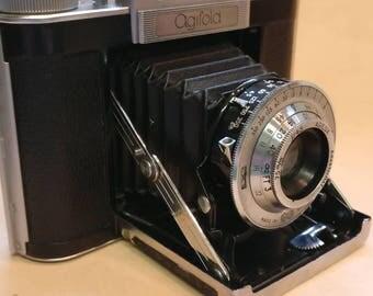 Vintage Agifold Agilux folding bellows camera in original case