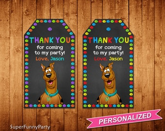Scooby Doo Favor Tags, Scooby Doo Thank You Tags, Scooby Doo Printable, Personalized, Digital File