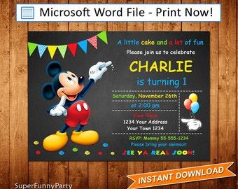 Mickey Mouse Invitation, Chalkboard Mickey Mouse Invite, Mickey Mouse  Printables, Editable Microsoft Word