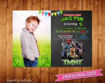 Teenage Mutant Ninja Turtles Invitation, TMNT Birthday Invitation, Ninja Turtles Invitation, TMNT Printable, Personalized, Digital File