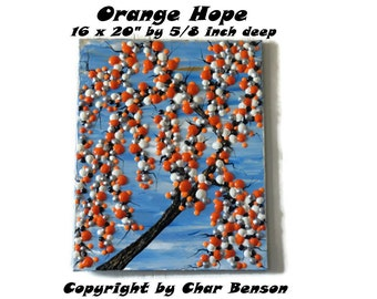 Orange Hope, Heavy Texture Canvas Orange Tree Painting, Modern Abstract Art, Handpainted by Char Benson