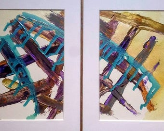 Abstract Painting Original Set of Colourful Multicoloured Textured Mixed Media Wall Art / Set of Two 8 x 10 Original Art